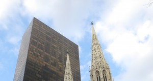 Church in Front of Skyscraper